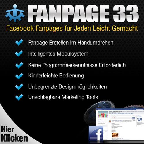 Facebook Fanpage mit Fanpage 33 gestalten